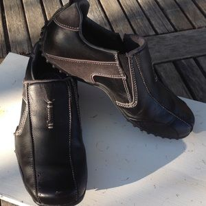 Mens Skechers Leather Walking Shoes Black
